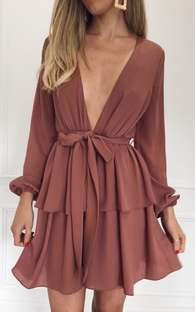 Amy Plunge Long Sleeved Dress   Brown by Pretty Lavish Product photo