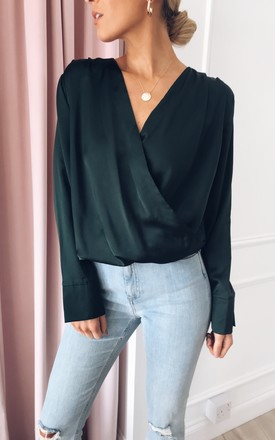 Harper Satin Wrap Blouse - Green by Pretty Lavish