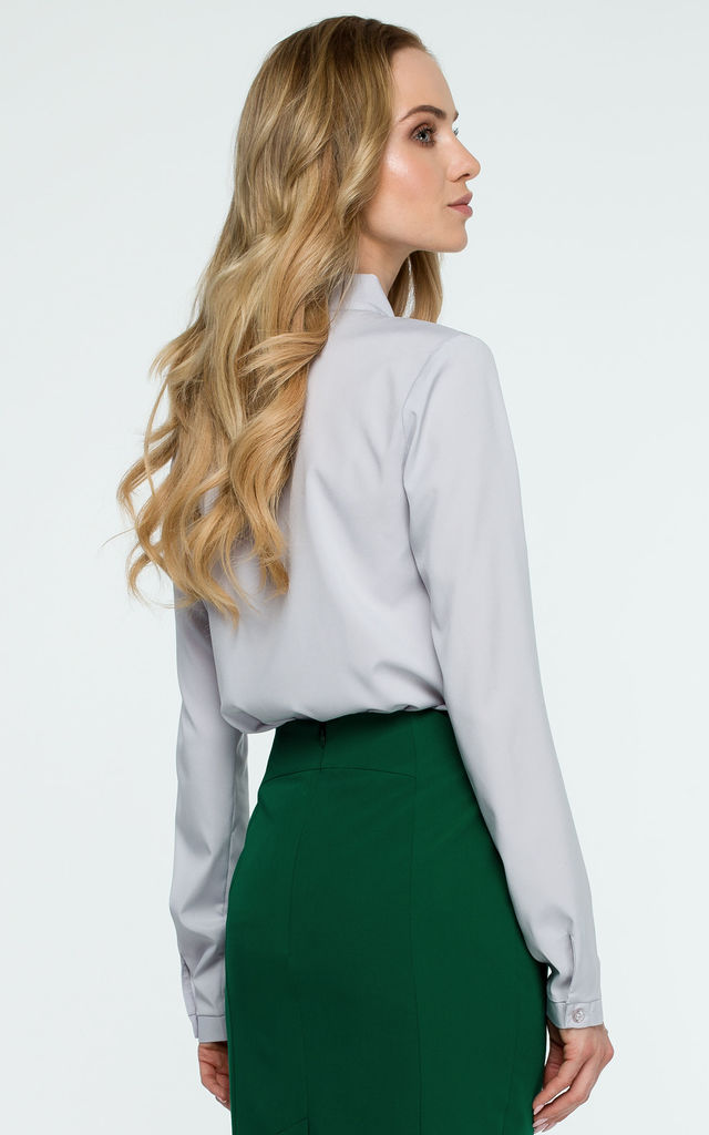 Grey Tie Bow Long Sleeve Elegant Blouse by MOE