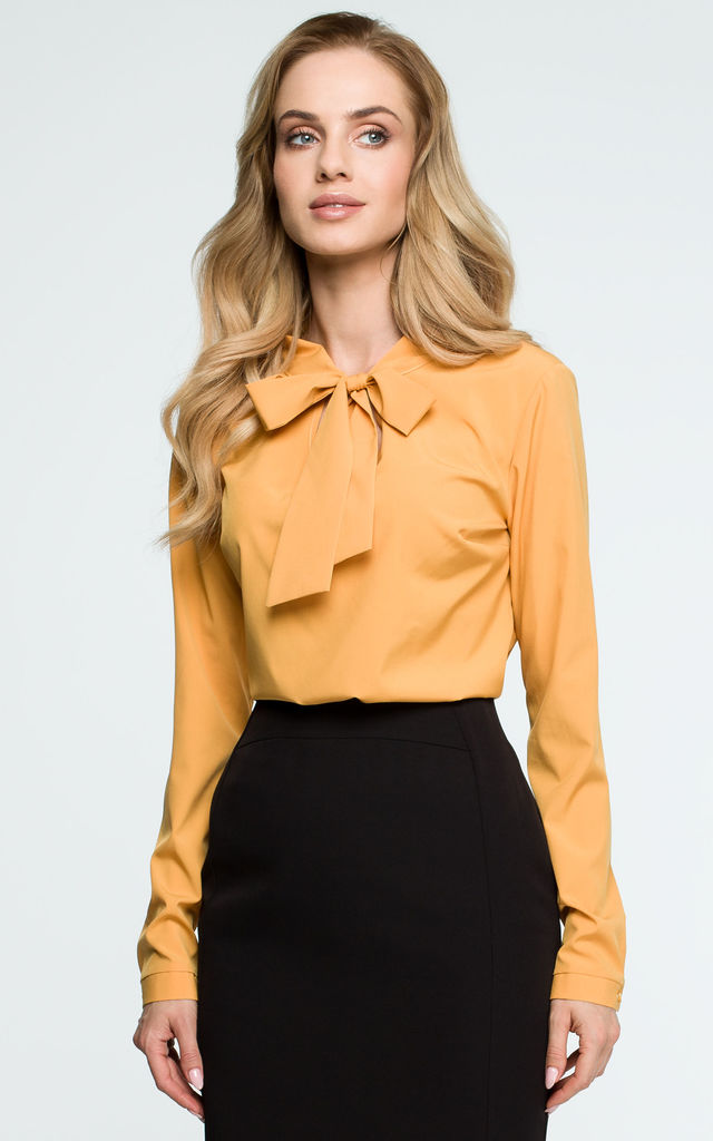 Yellow Tie Bow Long Sleeve Elegant Blouse by MOE