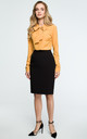 Black Knee Length Back Split Pencil Skirt by MOE