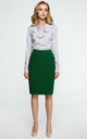 Green Knee Length Back Split Pencil Skirt by MOE