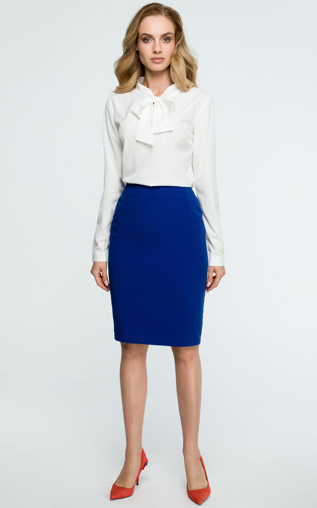 really comfortable shop for latest fashion Royal Blue Knee Length Back Split Pencil Skirt By MOE