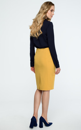 Yellow Knee Length Back Split Pencil Skirt by MOE