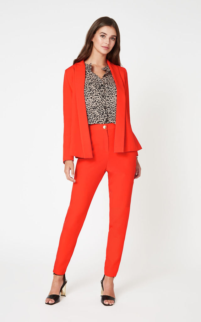 Darcie Red High Waisted Trousers by Vesper247