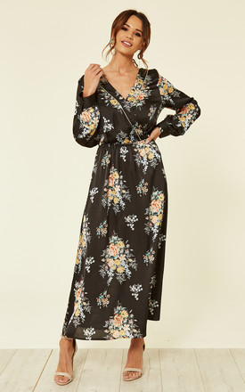 Black Floral Print Maxi Dress by ROCK KANDY Product photo