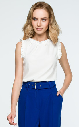 Sleeveless top with frill detail in white by MOE