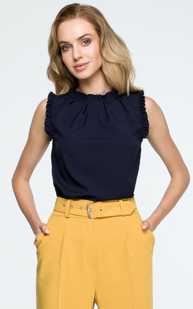 40edbc98367c64 Navy Blue Ruffle Details Sleeveless Blouse