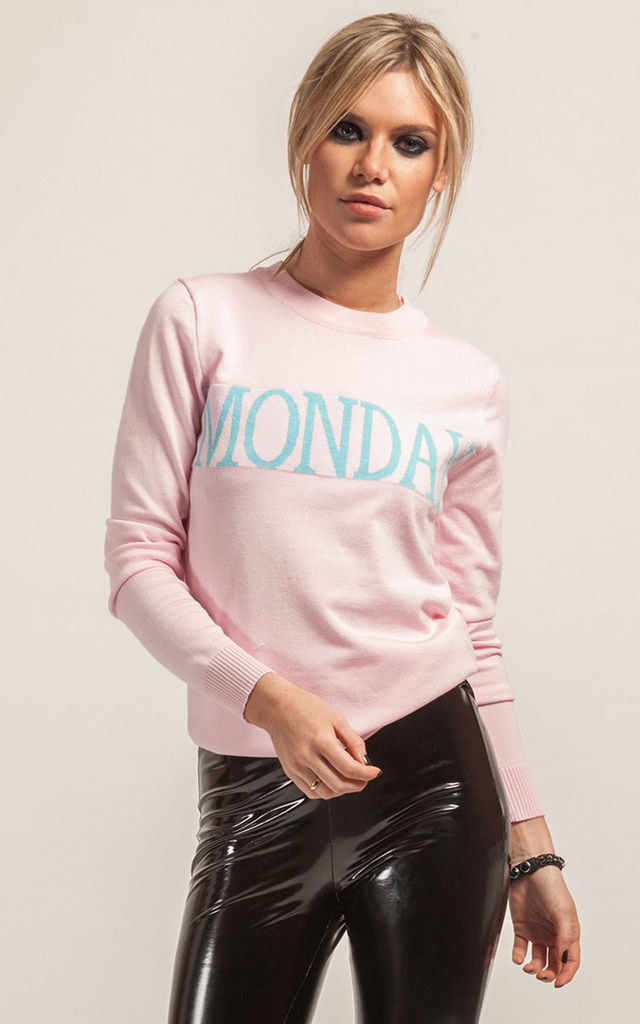 Light Pink Monday Knitted Jumper by STEREOBLONDES