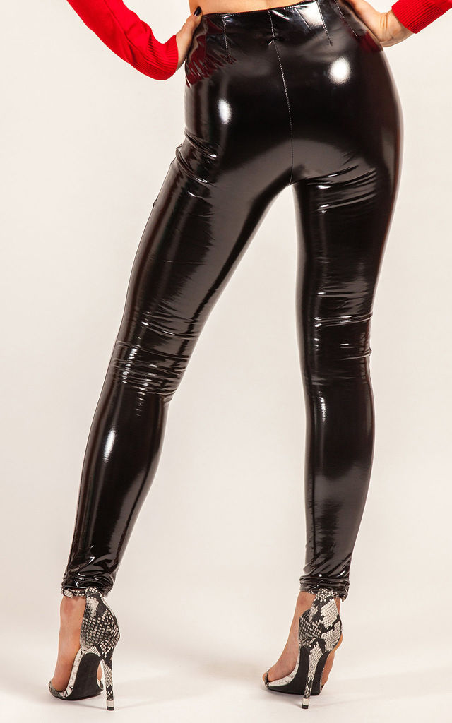 Black PU Shiny Vinyl Leggings by STEREOBLONDES