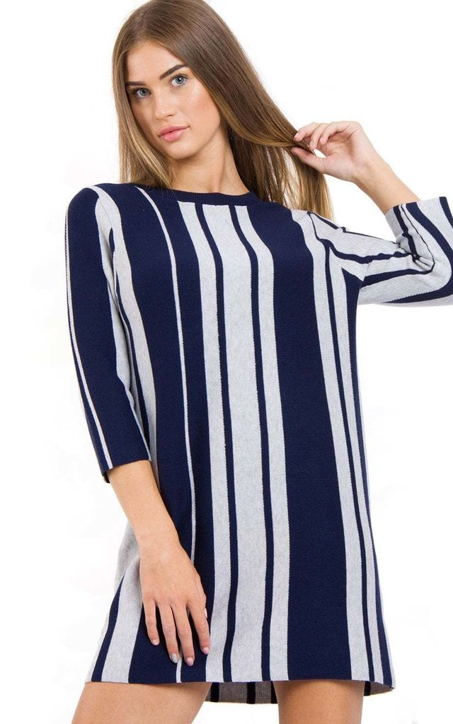 Navy Stiped Long Jumper Dress by Urban Mist