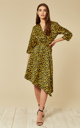 Black And Gold Leopard Print Wrap Midi Dress by Pieces Product photo