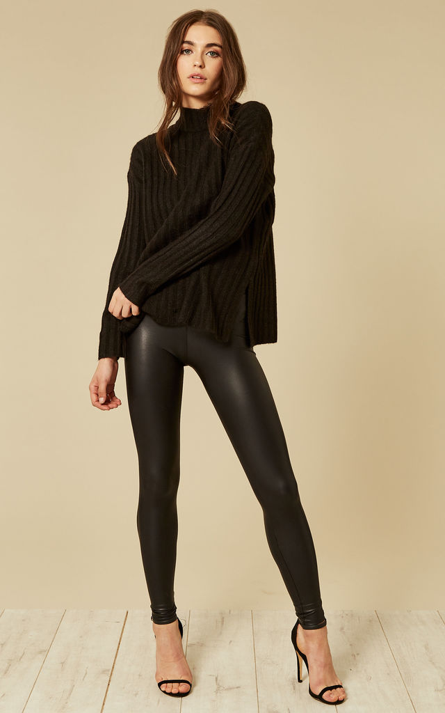 Black shiny leggings by Pieces