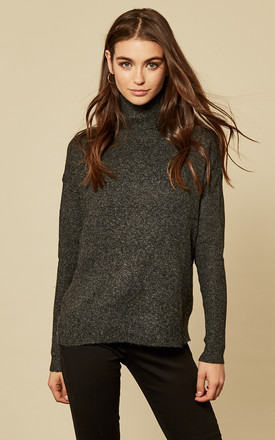 Black Long Sleeve Rollneck Knit Top by VM Product photo