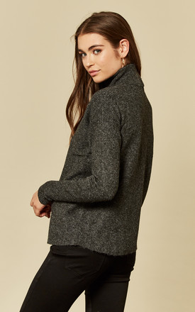 Black Long Sleeve Rollneck Knit Top by VM