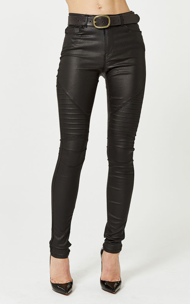 COATED RIBBED BLACK BIKER SKINNY JEANS by Noisy May