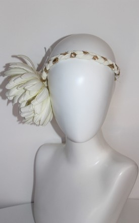 Cream flower plaite headband by Kate Coleman