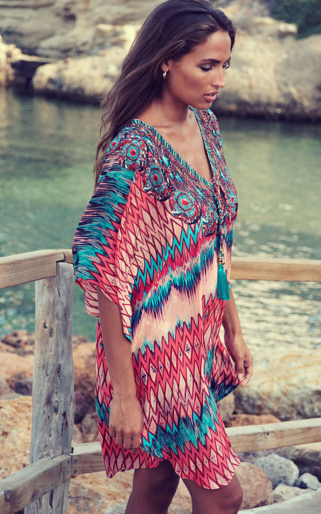Maxima Orange Kaftan with Tassels by Kitten Beachwear