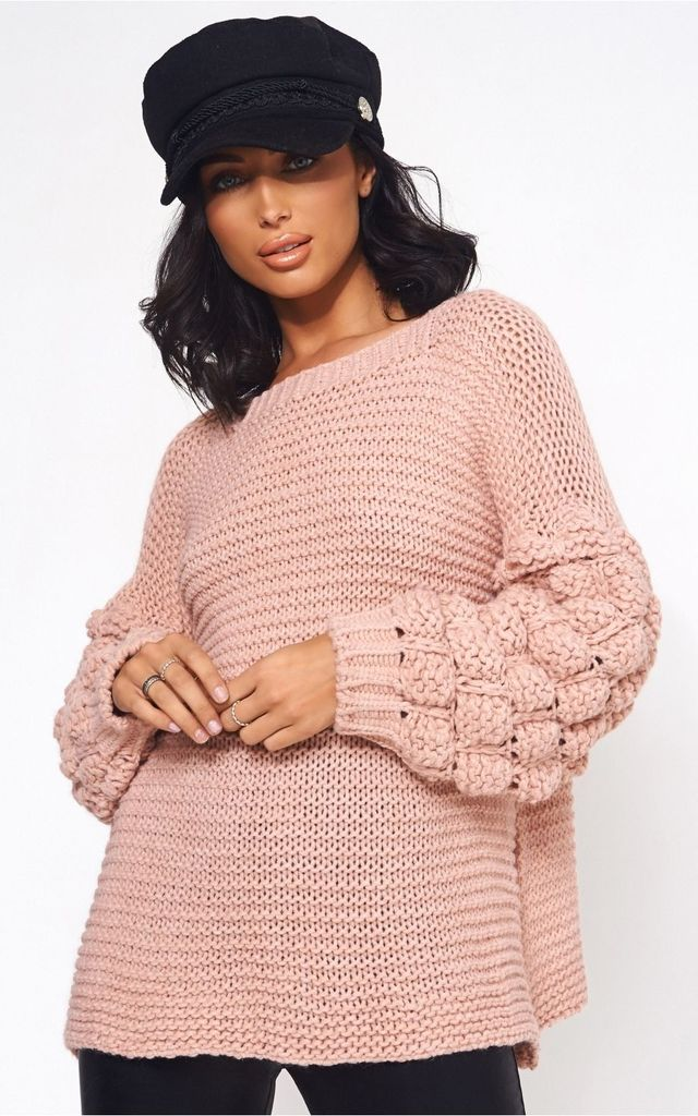 Nude Pink Pom Sleeve Oversized Jumper by The Fashion Bible