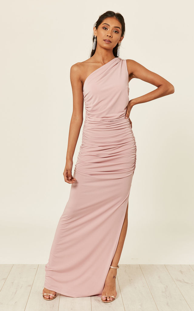 ANGELINA BLUSH one shoulder maxi bridesmaid dress by Revie London