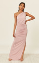 ANGELINA Dusty Rose one shoulder maxi bridesmaid dress by Revie London