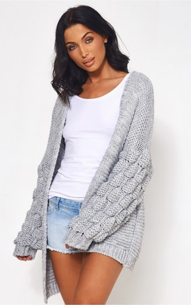 Alessa Pom Bobble Sleeve Grey Cardigan by The Fashion Bible Product photo