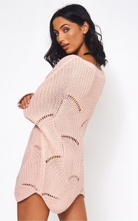 Eloise Pink Ribbed Sleeve Jumper by The Fashion Bible