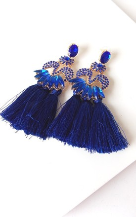 Blue Jewelled Triple Tassel Statement Earrings by Olivia Divine Jewellery