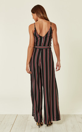 BLACK STRIPED TIE WAIST JUMPSUIT by AX Paris