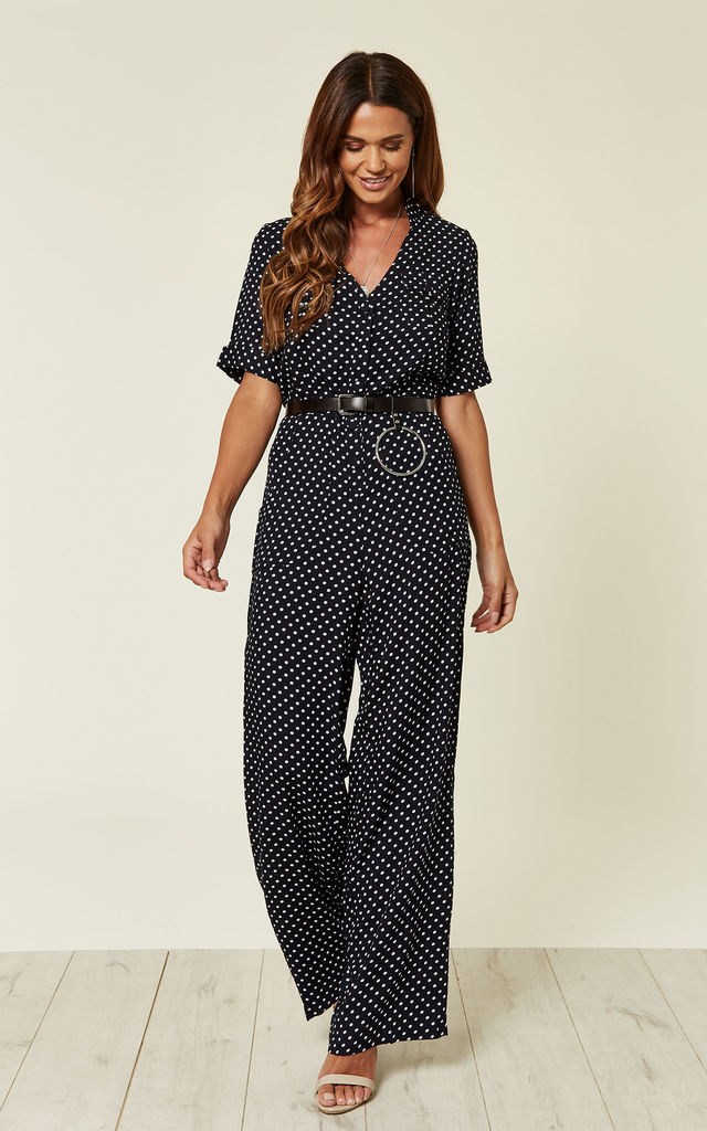 Polka Dot Dark Navy White Palazzo Jumpsuit by Ruby Rocks