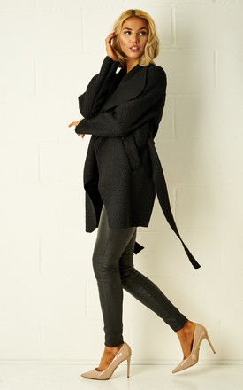 Teddy Black Borg Waterfall Shawl Collar Coat by Frontrow Limited