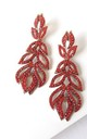 Red Jewelled Drop Statement Earrings by Olivia Divine Jewellery