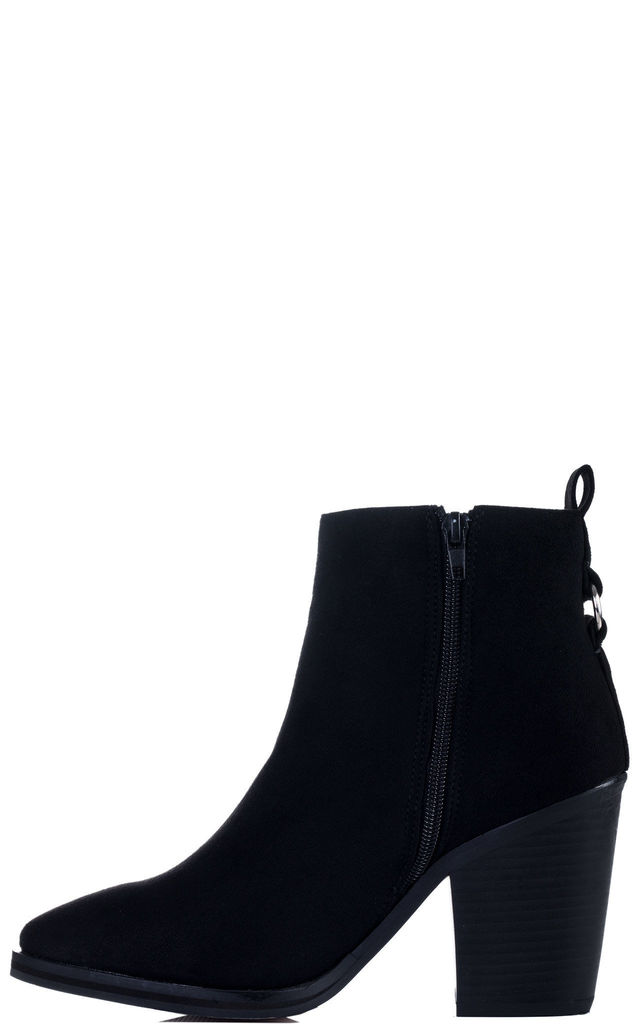 SPIDERA Zip Block Heel Ankle Boots Shoes - Black Suede Style by SpyLoveBuy