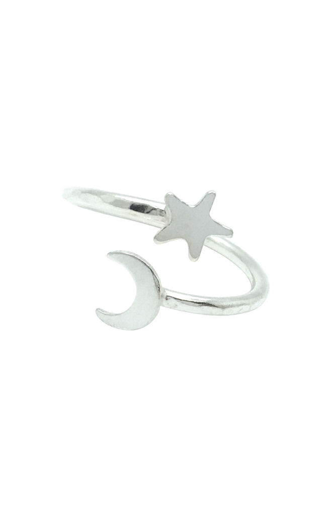 MOON AND STAR ADJUSTABLE RING STERLING SILVER by Lucy Ashton Jewellery