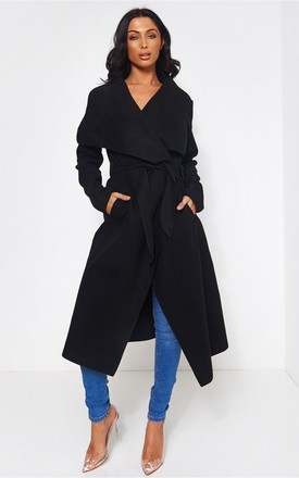 Khloe Black Waterfall Coat by The Fashion Bible Product photo