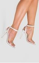 Athena Perspex Studded Barely There Heel in White Faux Leather by Poised London