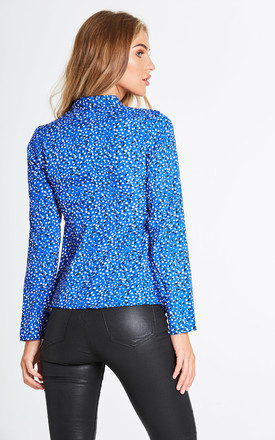 Mansell Long Sleeve Blouse in Blue Polka Dot by Rogue Fox