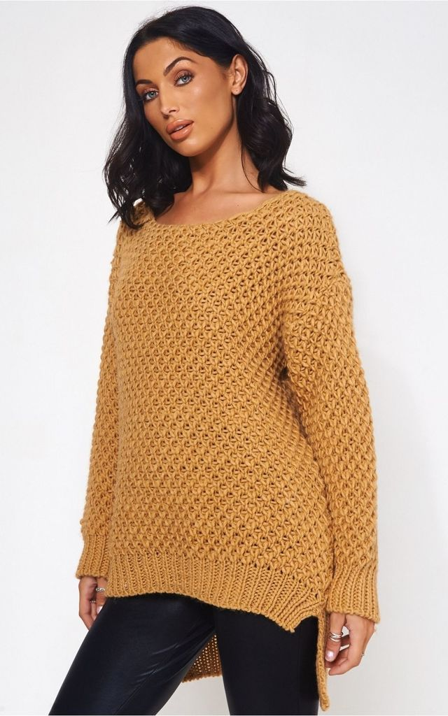 Oversized Waffle Style Brown Jumper by The Fashion Bible