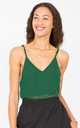 V-Neck Georgette Camisole Green by likemary