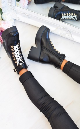 Chunky Platform Lace up Biker Boots - Black by AJ | VOYAGE