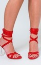 Cara Lace Up Perspex Heel in Red Faux Suede by Poised London