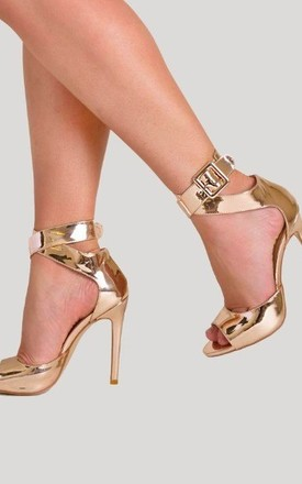 Darla Peep Toe Heel in Gold Patent by Poised London