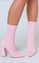 Esme Block Heel Lycra Sock Boot in Pastel Pink by Poised London