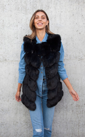 Soho Black Faux Fur Panelled Gilet by Styled In London Product photo