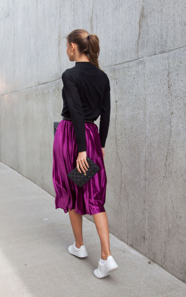 Magenta Velvet Pleated Midi Skirt by Styled In London