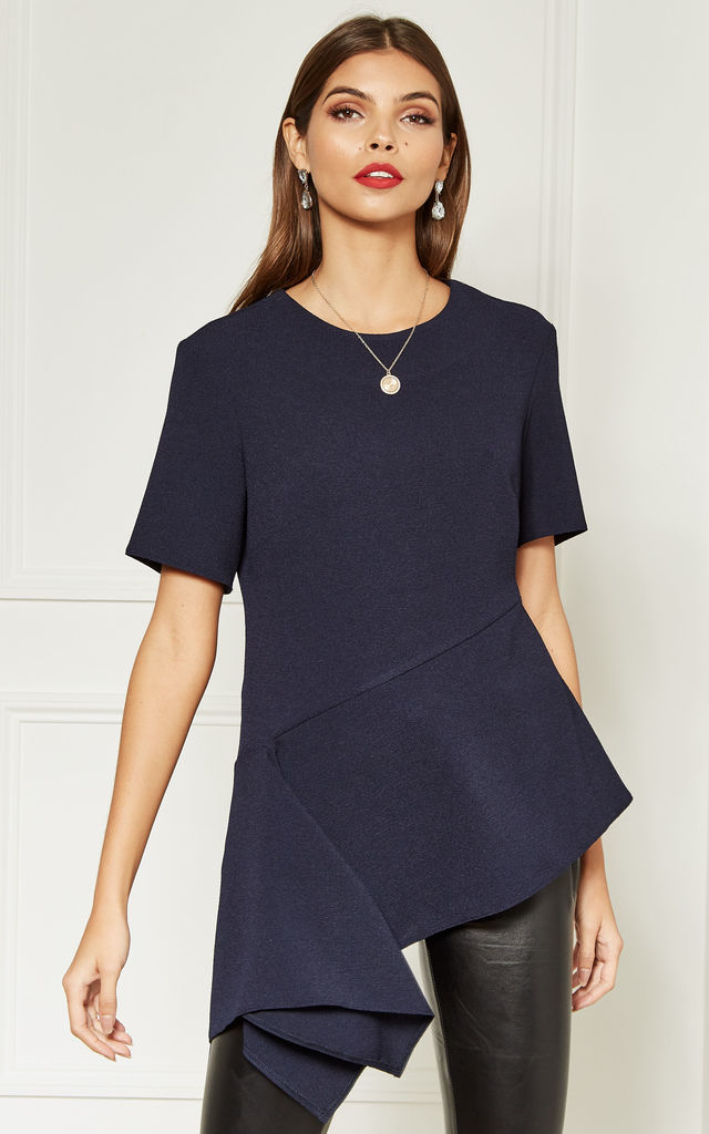 Navy Asymmetric Hem Top by Bella and Blue