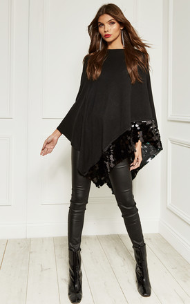 Black Sequin Hem Poncho by Bella and Blue Product photo