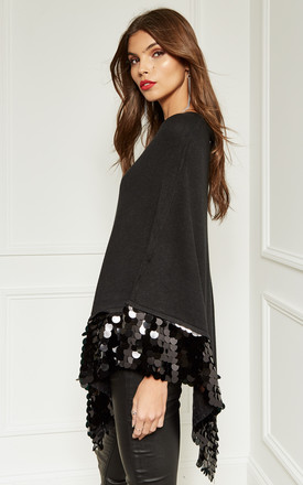 Black Sequin Hem Poncho by Bella and Blue