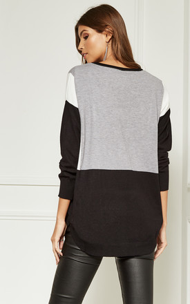 Grey Block Colour Jumper by Bella and Blue