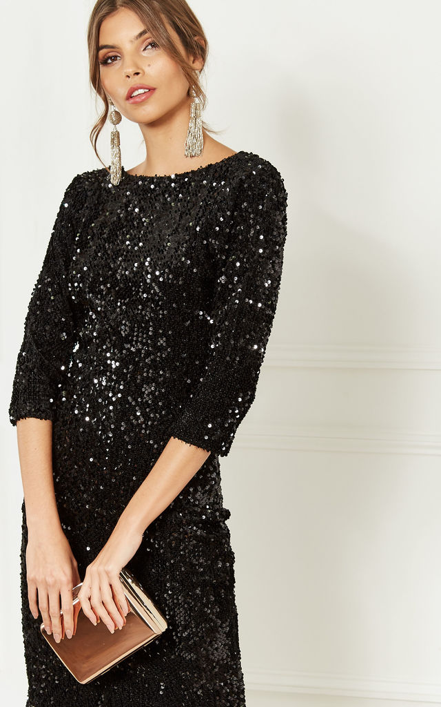 3d55a24e349 Black Sequin Velvet Backless Midi Dress With Half Sleeves by Lilah Rose